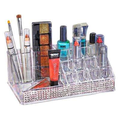 8.58 in. x 4.96 in. x 3.15 in. 16 Section Cosmetic and Jewelry Holder in Pave Diamond Design