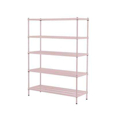 MeshWorks 5-Shelf Metal Blush Pink Freestanding Shelving Unit