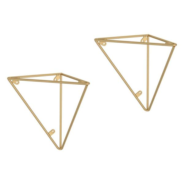 6.28 in. Painted Brushed Brass Steel Geometric Decorative Shelf Bracket (2-Pack)