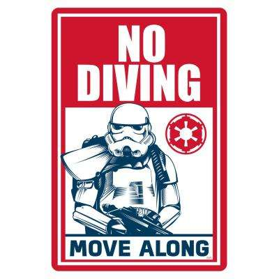 12 in. x 18 in. Star Wars No Diving, Move Along Pool Sign