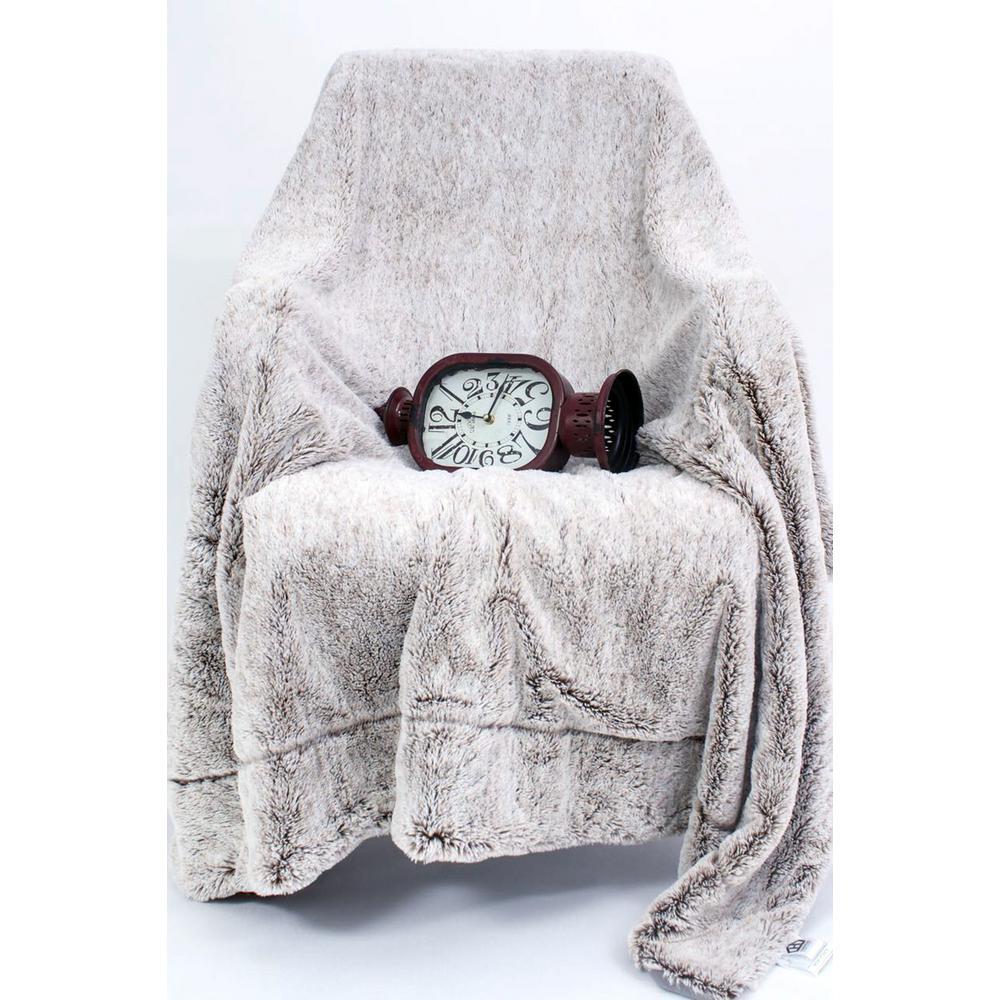 Luxury Grey Faux Fur Throw Blanket and Back Fleece