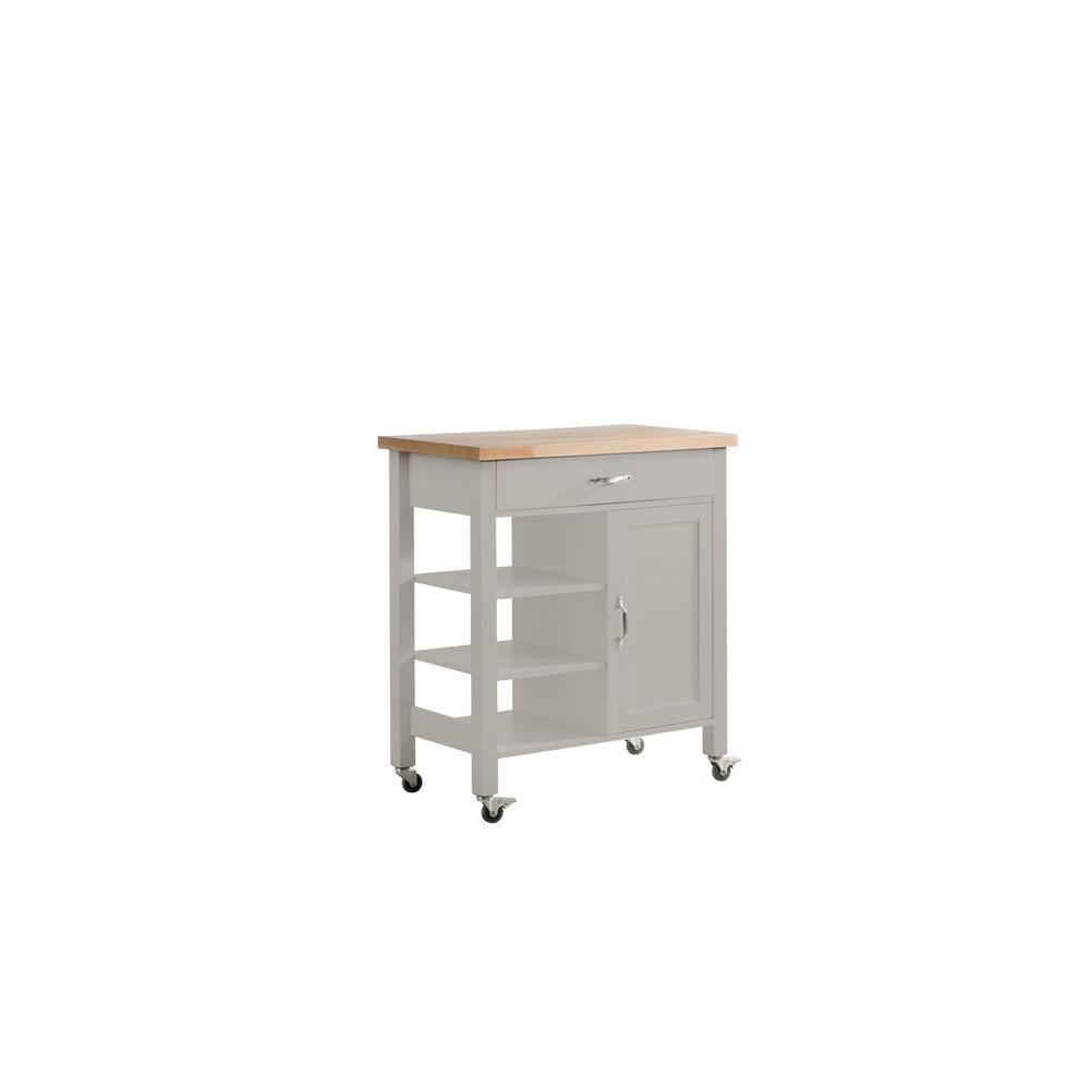 Kitchen Cart With Cabinet: Sunjoy Greenwich Gray Body With Wood Top Kitchen Cart With