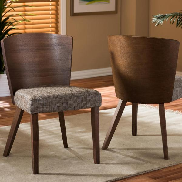Baxton Studio Sparrow Gray Fabric Upholstered and Medium Brown Wood Dining