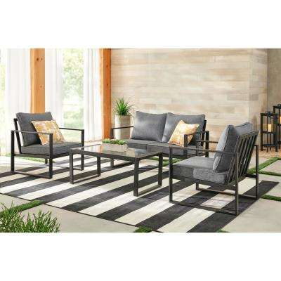 Barclay Black 4 Piece Steel Patio Conversation Set With Grey Cushions