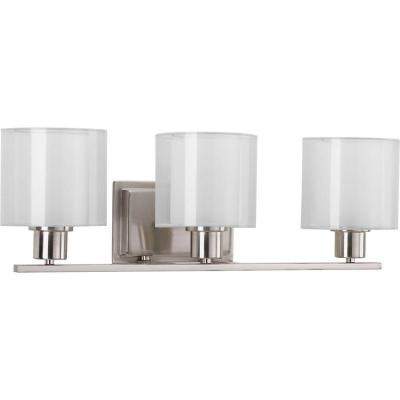 Invite Collection 3-Light Brushed Nickel Bathroom Vanity Light