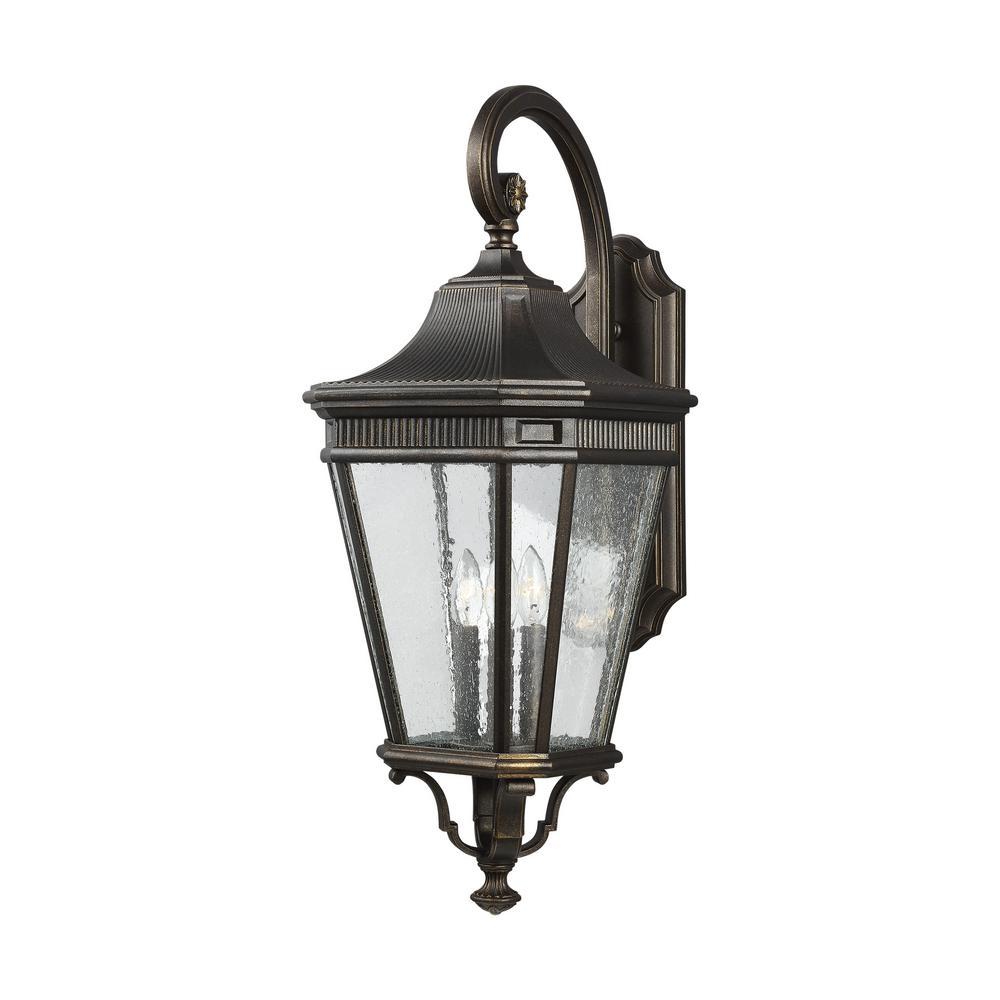 Cotswold Lane Large 3 Light Grecian Bronze Outdoor 30 In Wall Mount Lantern