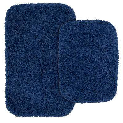 Serendipity 2 Piece Washable Bathroom Rug Set in Navy