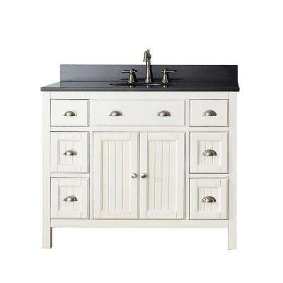 Hamilton 43 in. W x 22 in. D x 35 in. H Vanity in French White with Granite Vanity Top in Black with White Basin