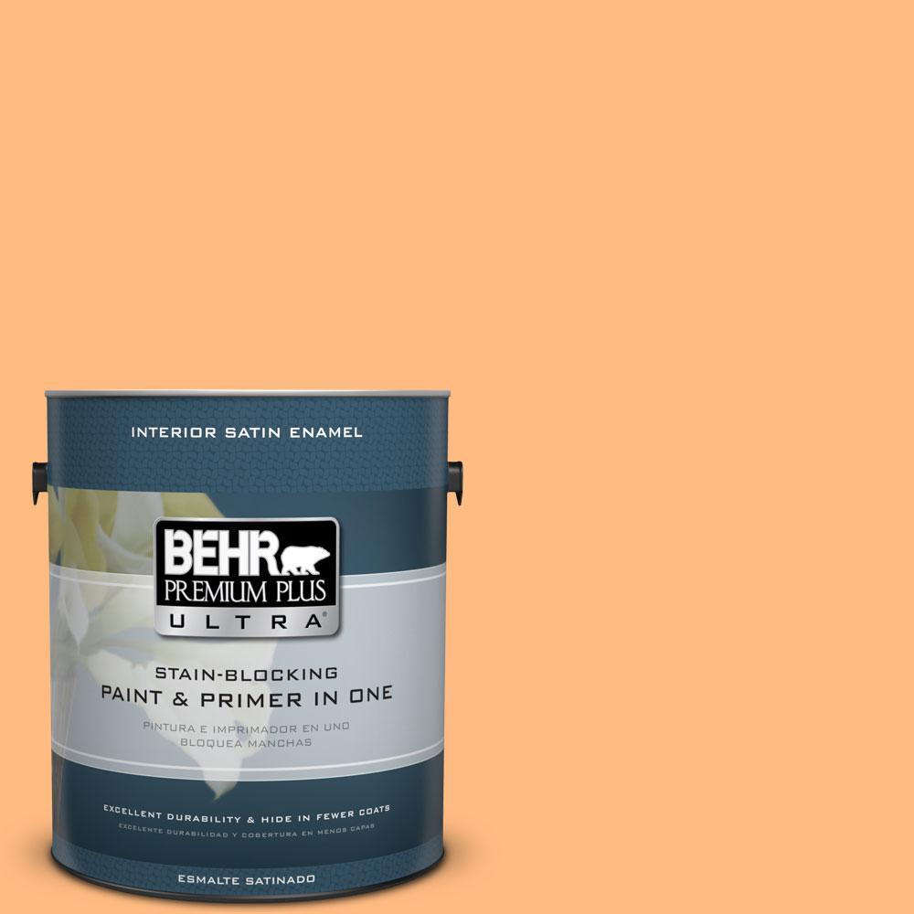 1 gal. #270B-4 Apricot Flower Satin Enamel Interior Paint and Primer