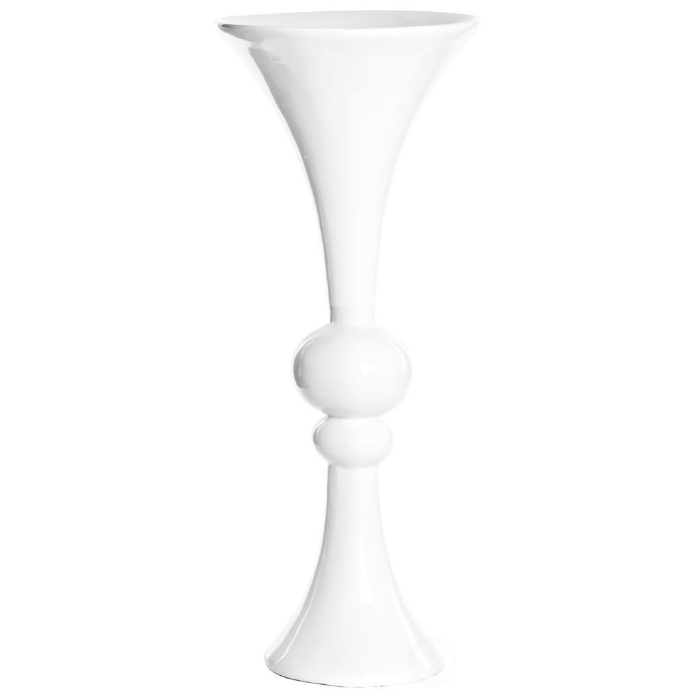 24 in. White Decorative Wedding Centerpiece Modern Trumpet Vase