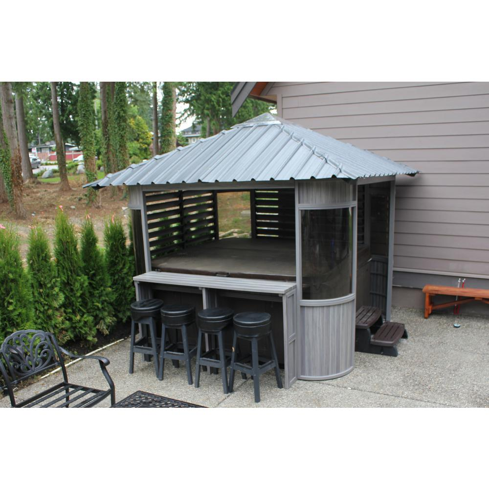 10 Ft Zento Ultrawood Spa Gazebo With Bar And Stools Zen