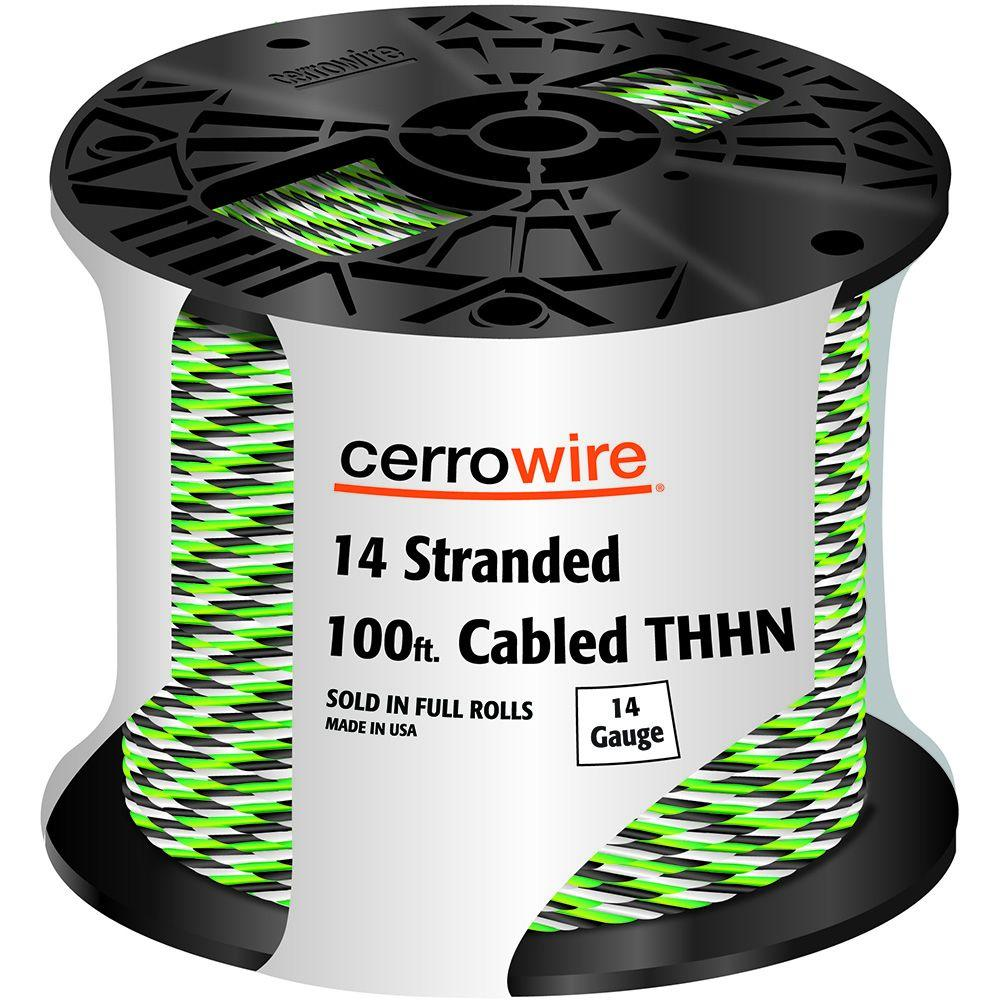 100 ft. 14-3 Black, White and Green Cabled Stranded THHN Cable