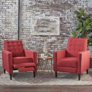 f30295aa7f61 Mervynn Mid-Century Modern Button Back Red Fabric Recliners (Set of 2) · Noble  House ...