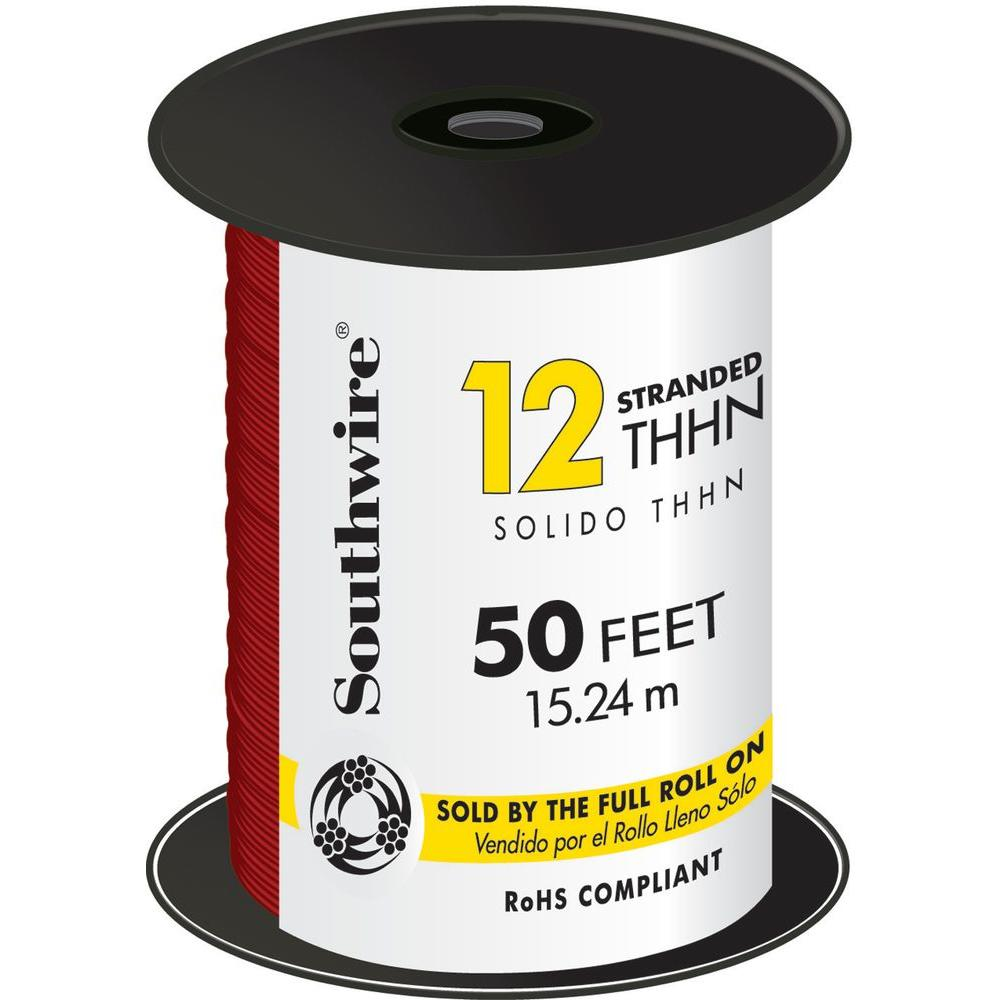 Southwire 50 ft. 12 Red Stranded CU THHN Wire