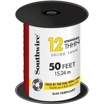 50 ft. 12 Red Stranded CU THHN Wire