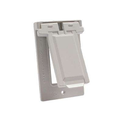 White 1-Gang GFCI Weatherproof Cover with Vertical Mount