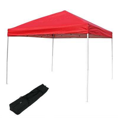 10 ft. x 10 ft. Red Quick-Up Straight Leg Canopy with Carrying Bag