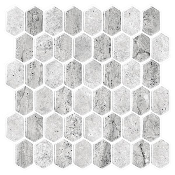 Tic Tac Tiles Honeycomb Grigio 10 in. W x 10 in. H Peel and Stick Decorative Mosaic Wall Tile Backsplash