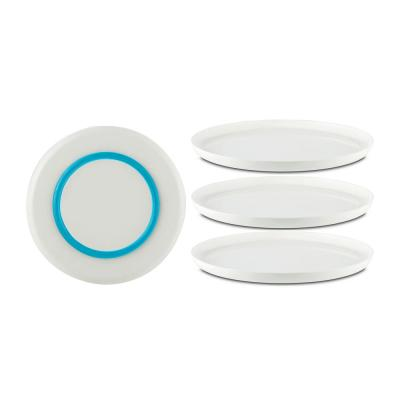 Palm Non-Slip Salad Plate 8 in. White with Vivid-Blue Base, (Set of 4)