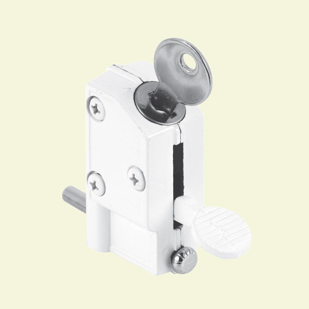 White Keyed Step-On Sliding Door Lock