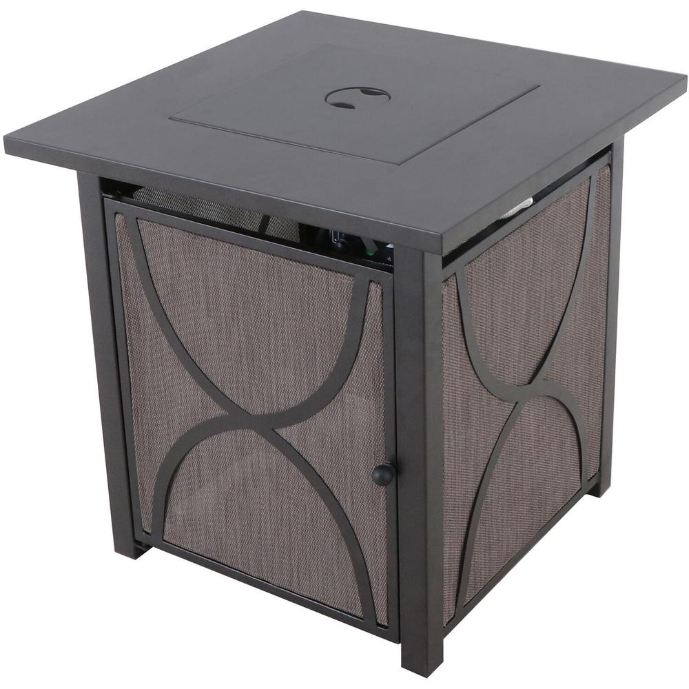 Hanover Palm Bay 25 in. x 25 in. Square Steel Gas Fire Pit Table with Burner Cover and Lava Rocks