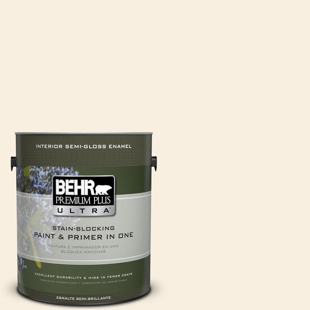 BEHR Premium Plus Ultra 1-gal. #W-F-300 Cotton Whisper Semi-Gloss Enamel Interior Paint