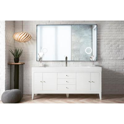 James Martin Vanities Linear 72 in. W Single Bath Vanity in Glossy White with Solid Surface Vanity Top in Matte White with...