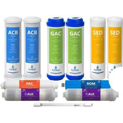 1 Year Reverse Osmosis Alkaline UV System Full Replacement Filter Set - 11 Total Filters with 50 GPD Membrane