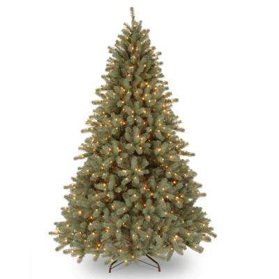 7.5 ft. Feel Real Lakewood Blue Artificial  Tree with LED Lights