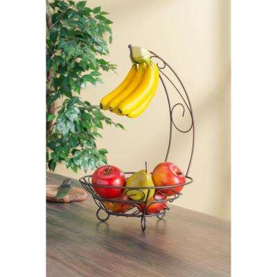Bronze Fruit Basket with Banana Tree
