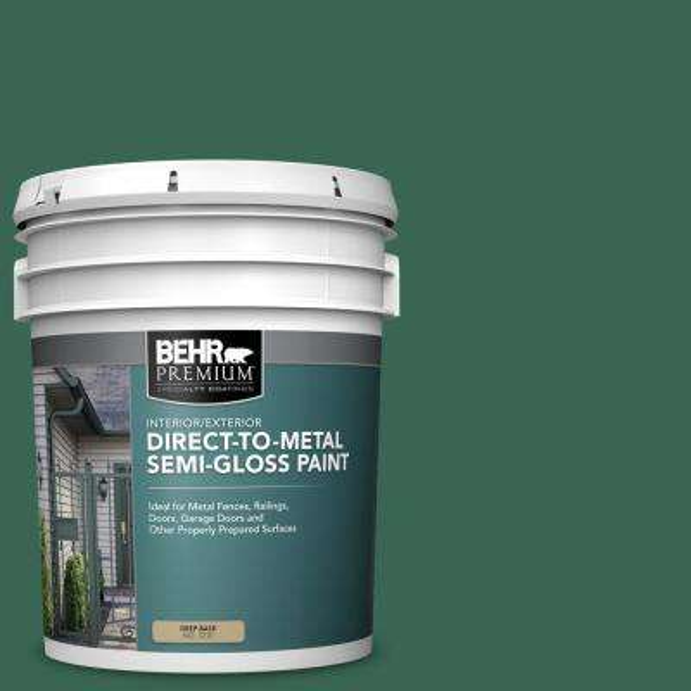 Behr Premium 5 Gal M420 7 Billiard Green Semi Gloss Direct To Metal Interior Exterior Paint 323005 The Home Depot