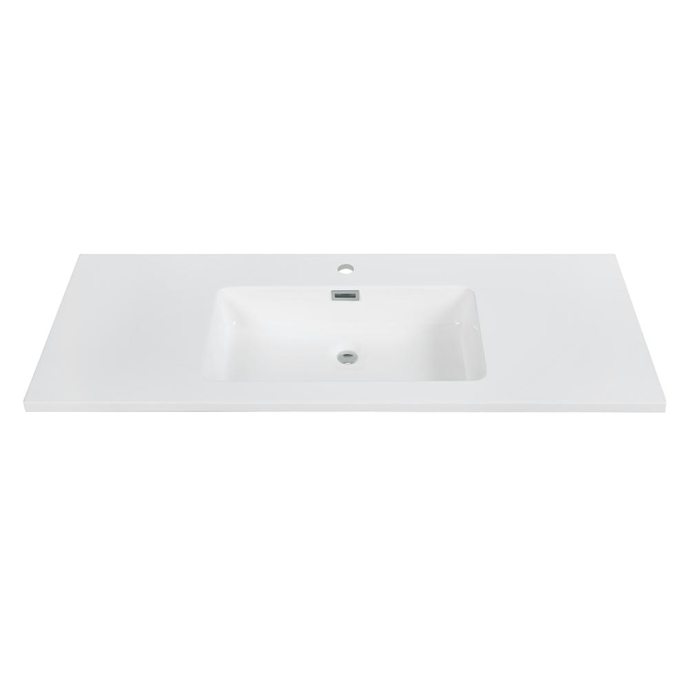 Streamline 48 In D X 18 5 In W Solid Surface Resin Vanity Top In White With White Basin K 161 Slsitrc 48 The Home Depot