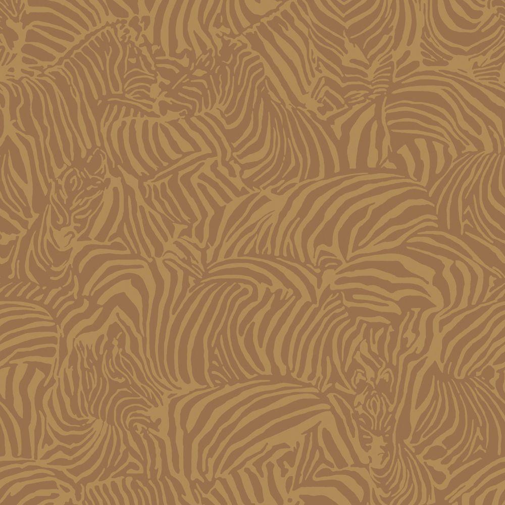 The Wallpaper Company 56 sq. ft. Antique Gold Zebra Wallpaper