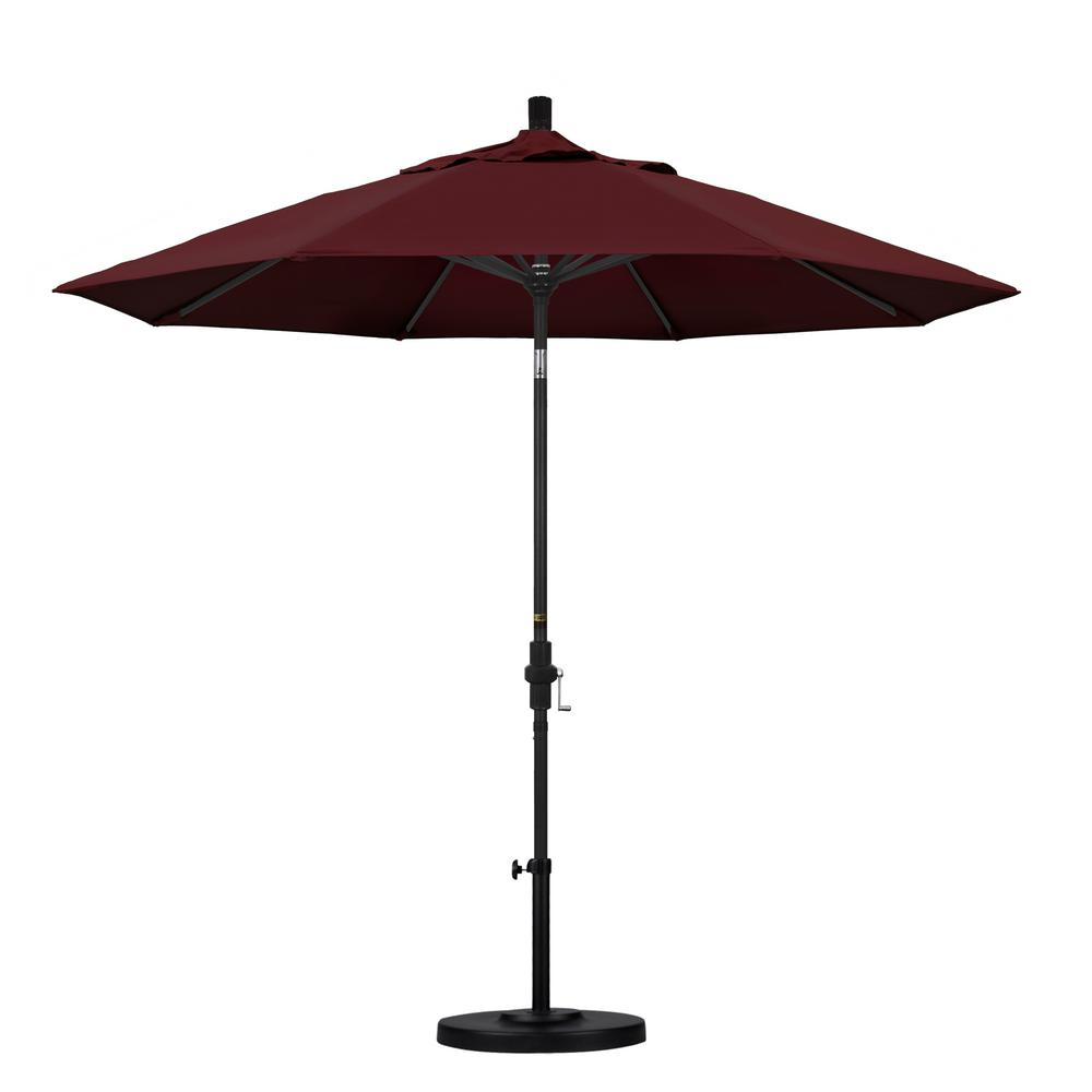 9 ft. Aluminum Collar Tilt Patio Umbrella in Burgundy Pacifica