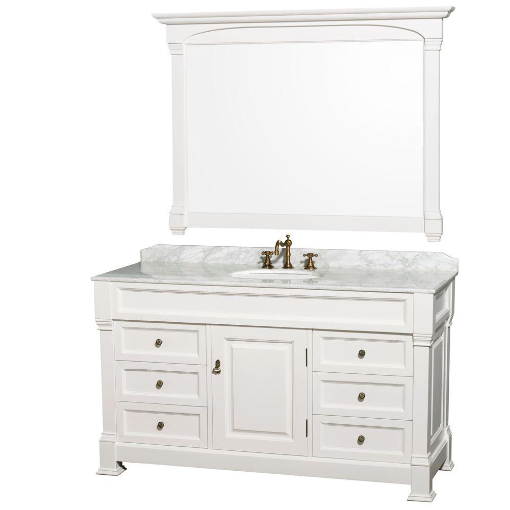 60 Inch Bathroom Vanity Home Depot.Wyndham Collection Andover 60 In Single Vanity In White With Marble Vanity Top In Carrara White With Porcelain Sink And Mirror