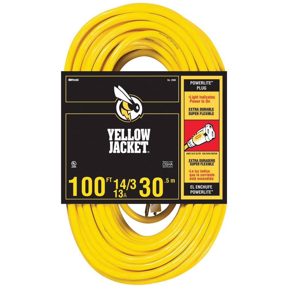 Yellow jacket 100 ft 143 sjtw outdoor heavy duty 15 amp contractor 143 sjtw outdoor heavy duty 15 amp contractor extension cord with power light plug 64826301 the home depot publicscrutiny Choice Image