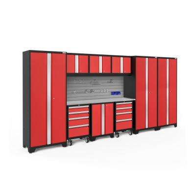 Bold Series 3.0 77.25 in. H x 162 in. W x 18 in. D 24-Gauge Steel Cabinet Set in Red (10-Piece)