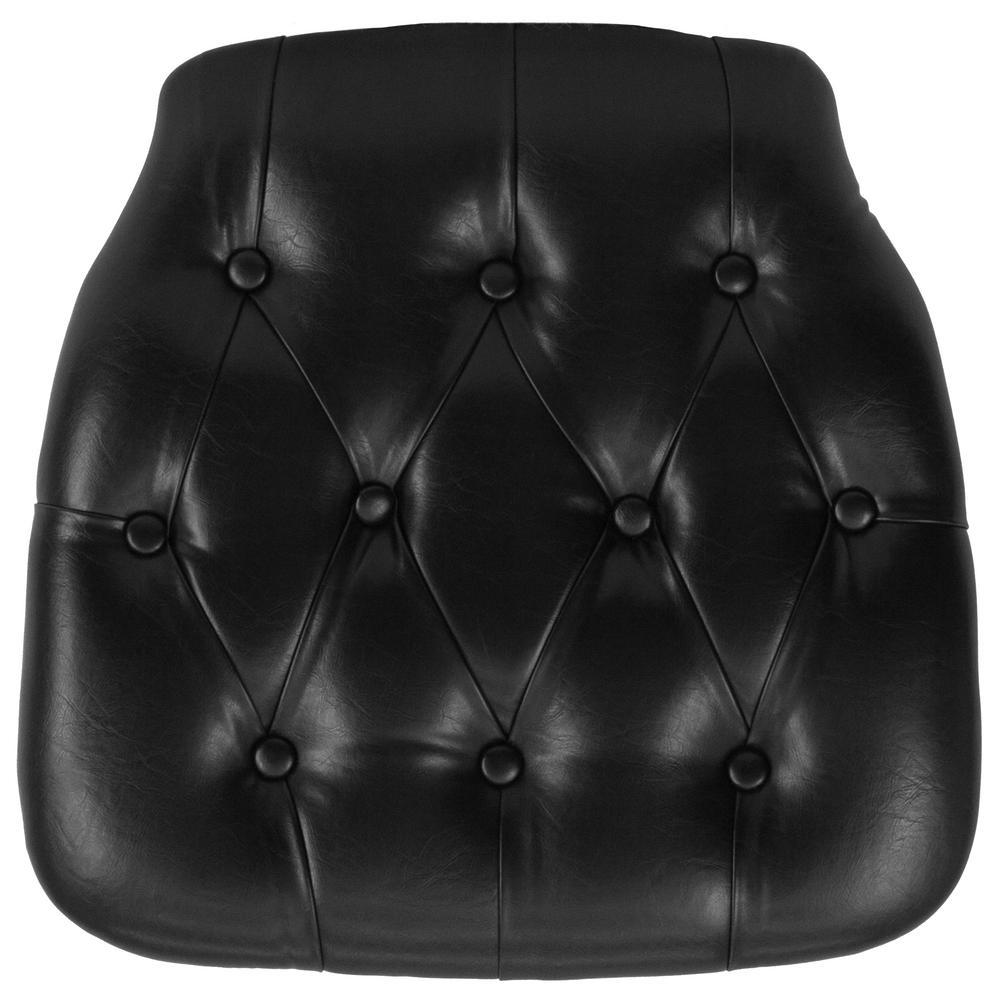 Charming Flash Furniture Hard Black Tufted Vinyl Chiavari Chair Cushion