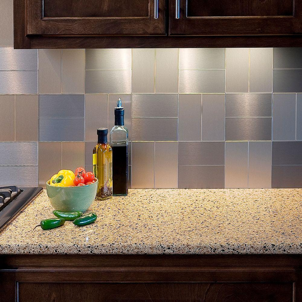 Aspect Short Grain 6 In X 3 Brushed Stainless Metal Decorative Tile Backsplash 8 Pack A53 50 The Home Depot