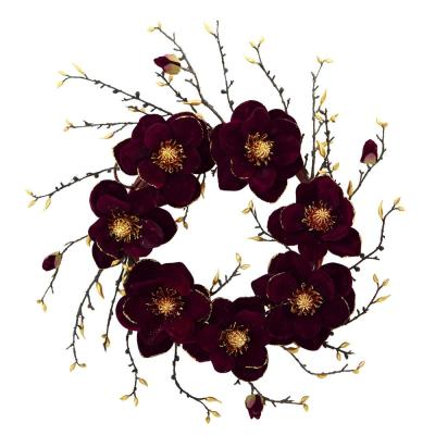 24 in. Indoor Burgundy and Gold Magnolia Artificial Wreath