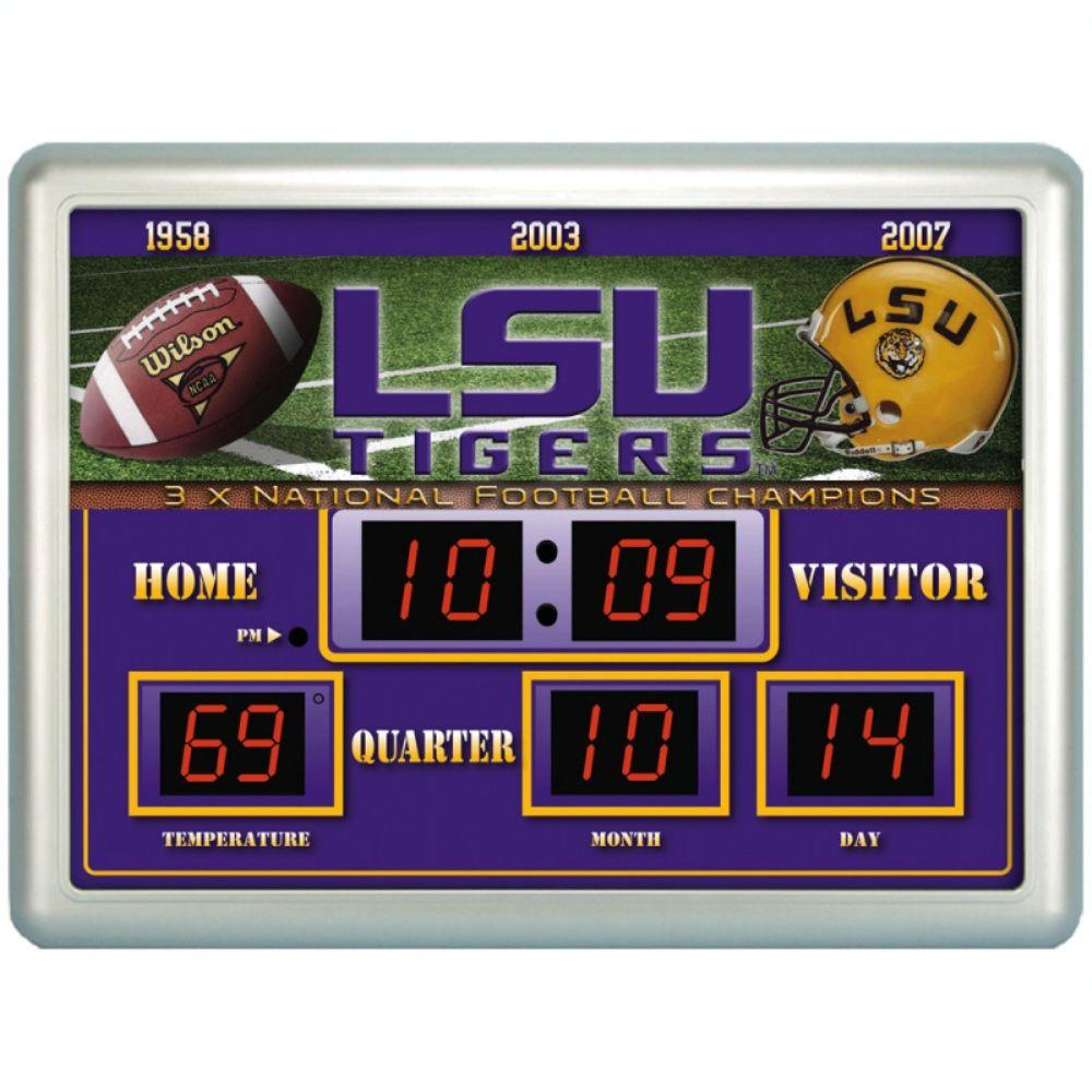null Louisianna State University 14 in. x 19 in. Scoreboard Clock with Temperature