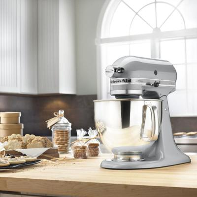 KitchenAid-Artisan 5 Qt. 10-Speed Metallic Charcoal Stand Mixer with Flat Beater, Wire Whip and Dough Hook Attachments