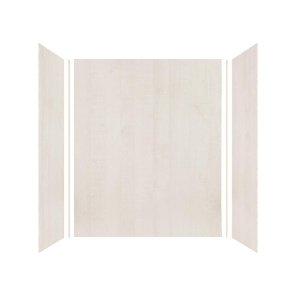 Transolid Expressions 36 in. x 60 in. x 72 in. 3-Piece Easy Up Adhesive Alcove Shower Wall Surround in Bleached Oak