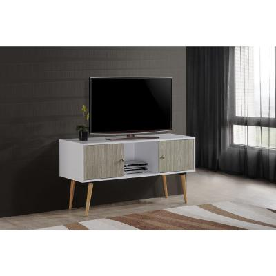Hodedah 47 in. White and Gray Oak Wood TV Stand Fits TVs Up to 60 in. with Storage Doors