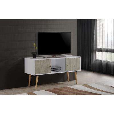 Retro Style Entertainment Unit in White-Grey Oak