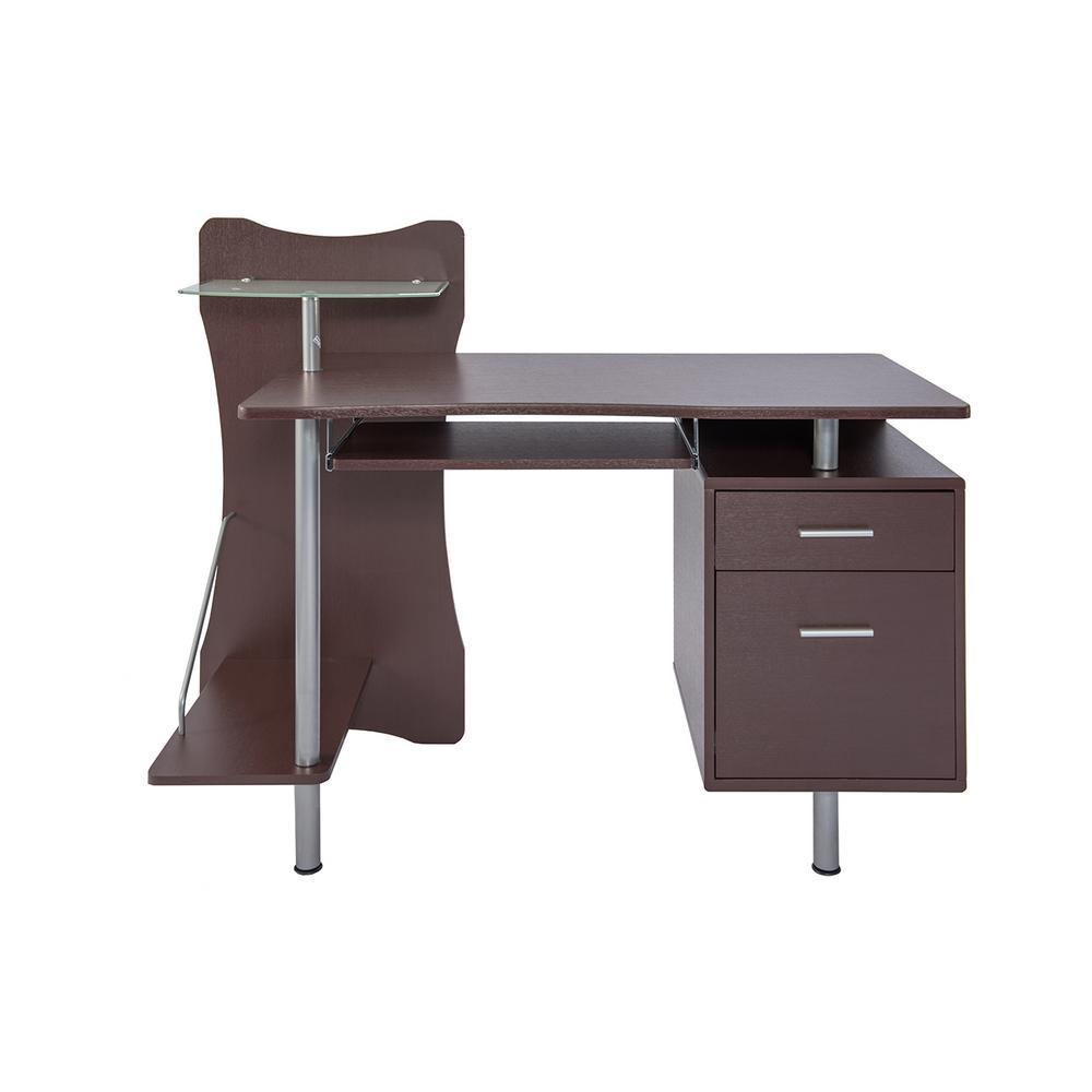 Chocolate Stylish Computer Desk With Storage