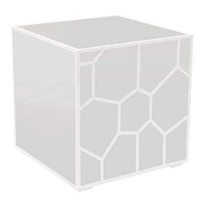 16.25 in. White Mirrored Accent Table