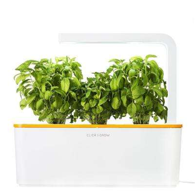 Smart Herb Garden with 3 Basil Cartridges Indoor Culinary Herb Grow Kit (Orange Lid)