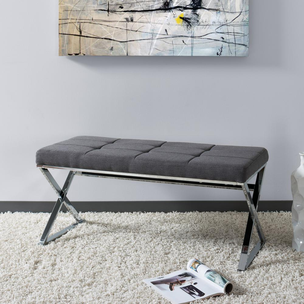 CorLiving Huntington Modern Grey Fabric Bench With X Shape Chrome Base