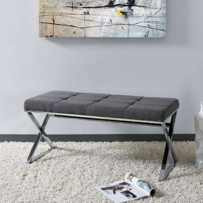 Huntington Modern Grey Fabric Bench with X-Shape Chrome Base